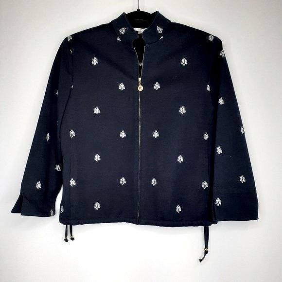 ST JOHN SPORT Couture Black Zip Jacket w Bee Motif